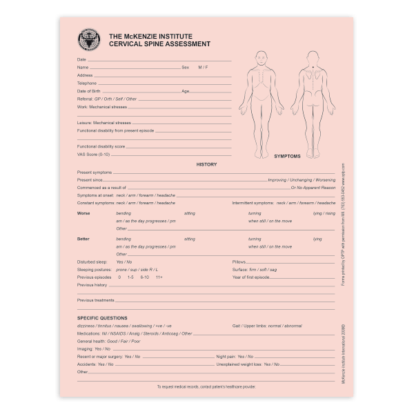 McKenzie Assessment Forms Cervical Spine McKenzie Method – Fitness Assessment Form